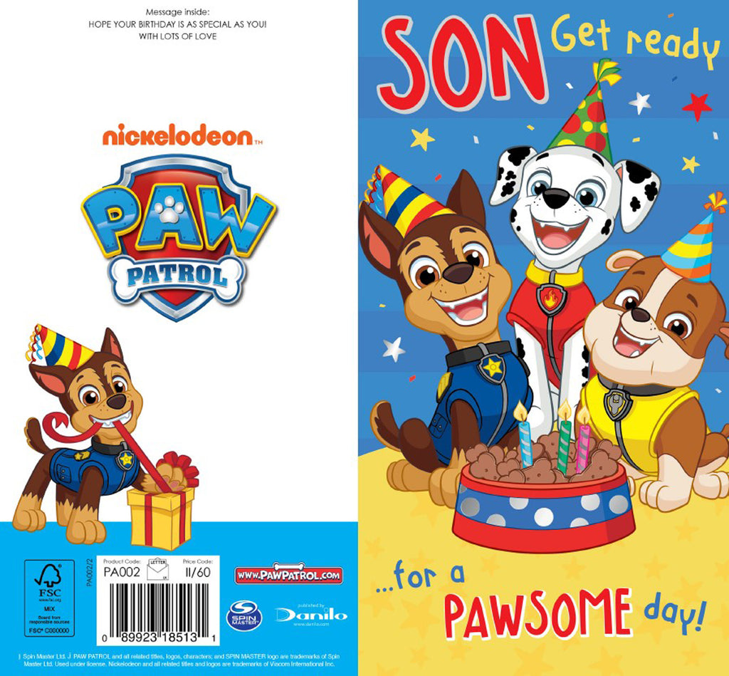 Paw Patrol Son Birthday Card Front & Back