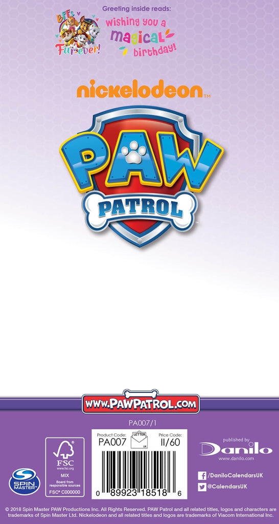 Paw Patrol Girl Birthday Card Back