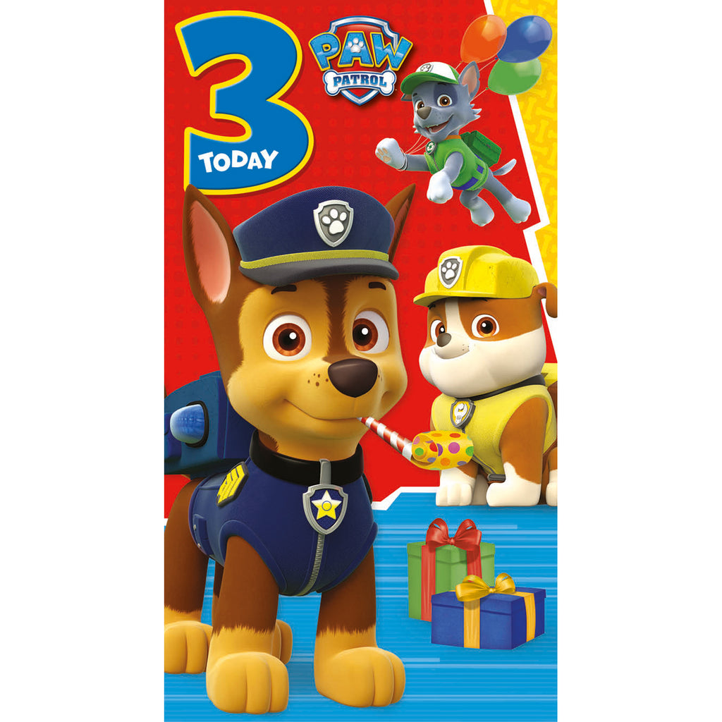 Paw Patrol Age 3 Birthday Card Front