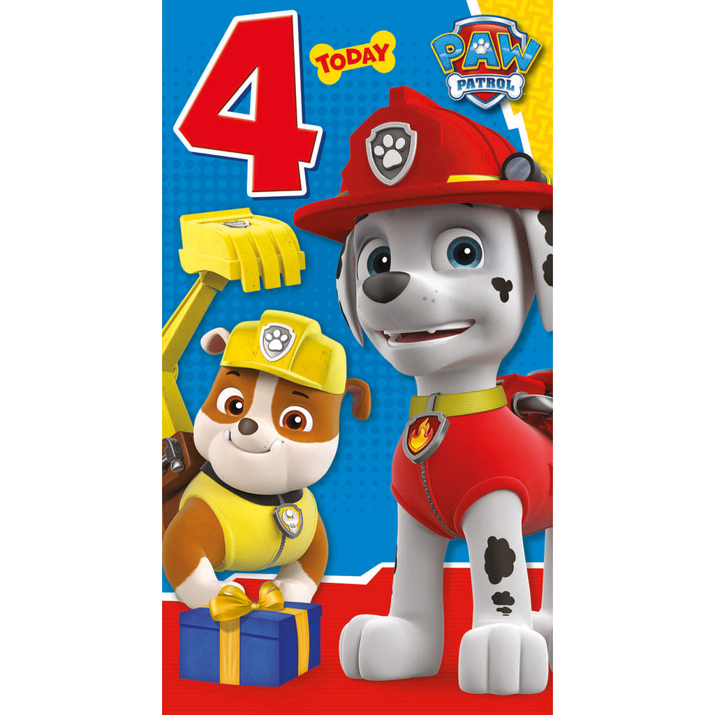 Paw Patrol Age 4 Birthday Card Front
