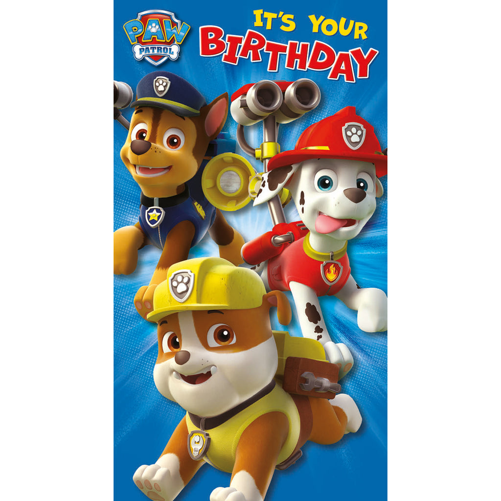 Paw Patrol Sticker Birthday Card Front