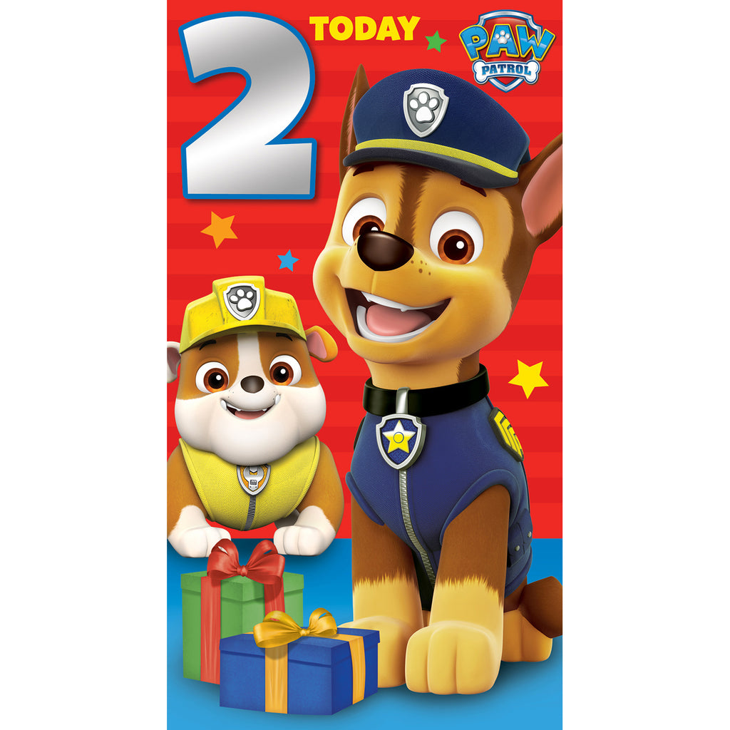 Paw Patrol Age 2 Birthday Card Front