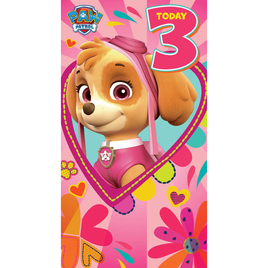 Paw Patrol Age 3 Birthday Girl Card Front