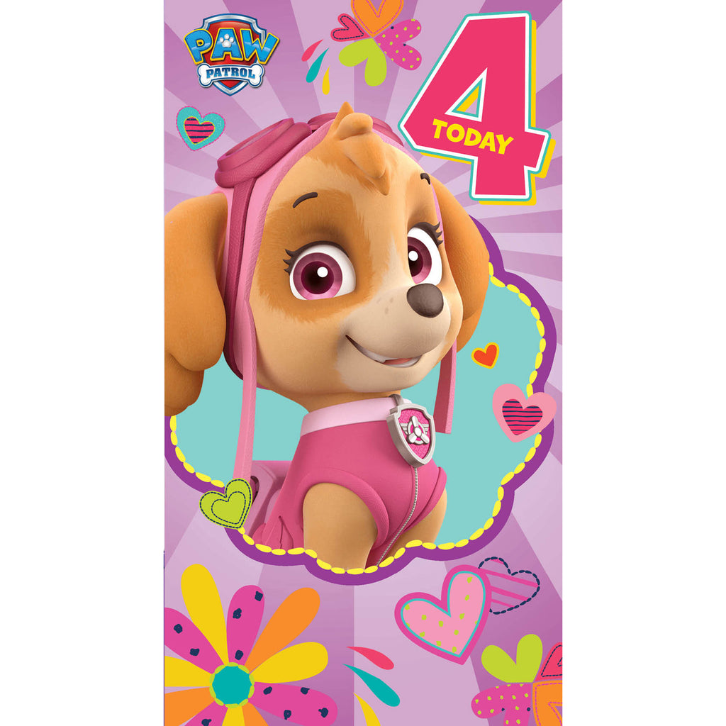 Paw Patrol Age 4 Birthday Girl Card Front