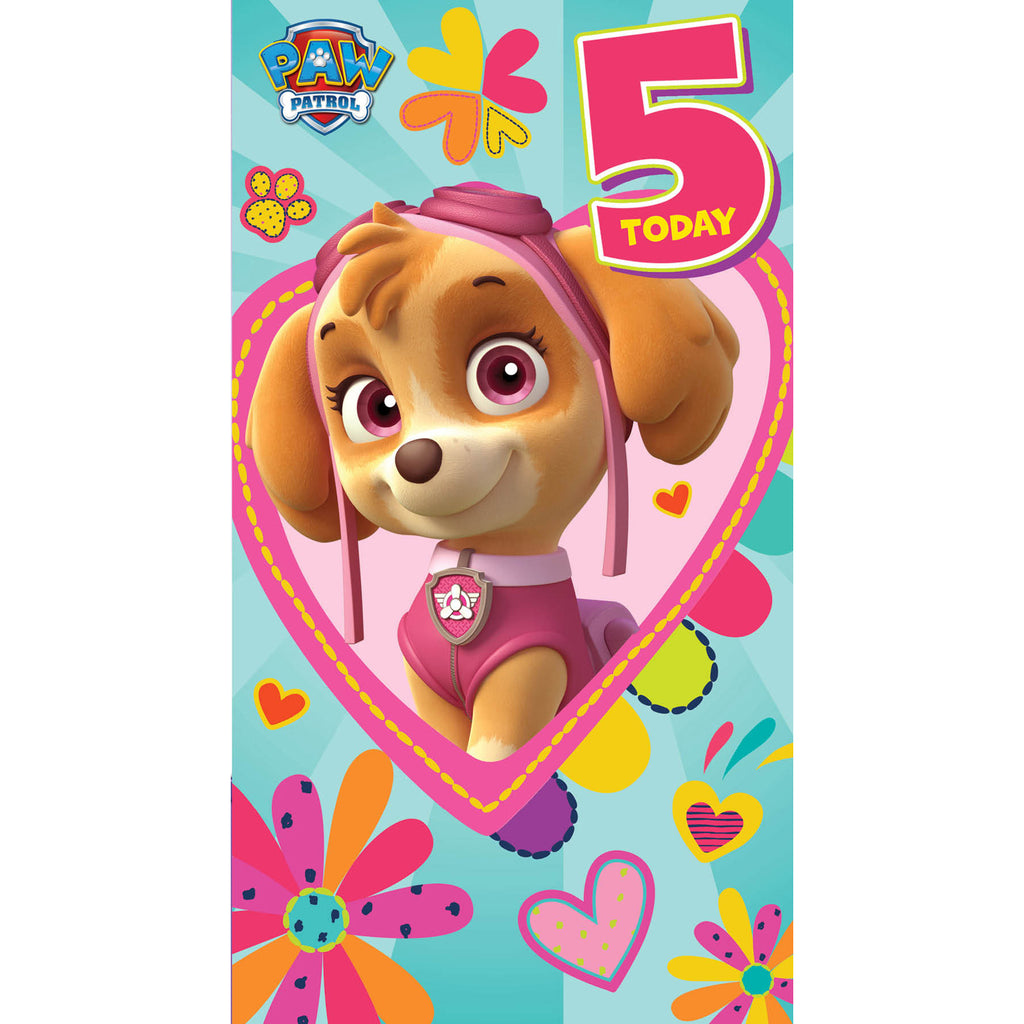 Paw Patrol Age 5 Birthday Girl Card Front