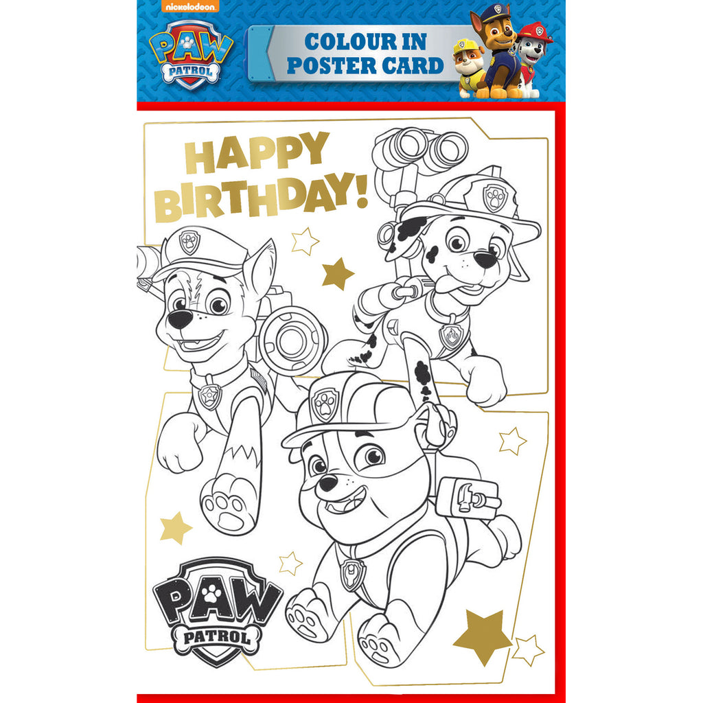 Paw Patrol Colour in Poster Birthday Card Front