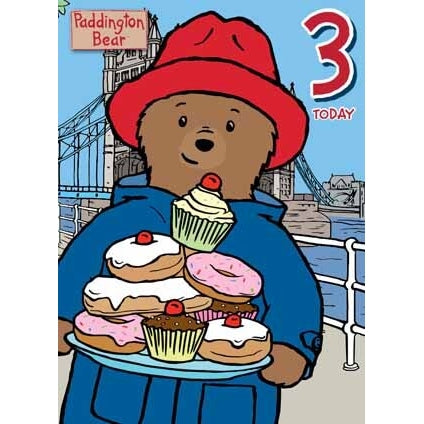 Paddington Bear Age 3 Birthday Card