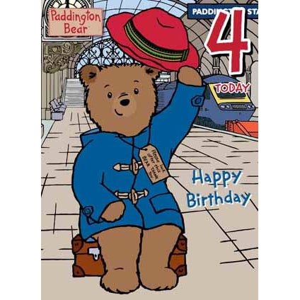 Paddington Bear Age 4 Birthday Card