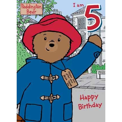 Paddington Bear Age 5 Birthday Card