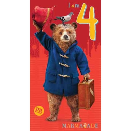 Paddington Bear The Movie Age 4 Birthday Card
