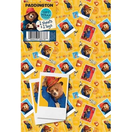 Paddington Bear Gift Wrap 2 Sheets & Tags