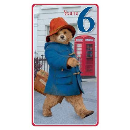 Paddington Bear The Movie Age 6 Birthday Card