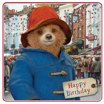 Paddington Bear Square Birthday Card