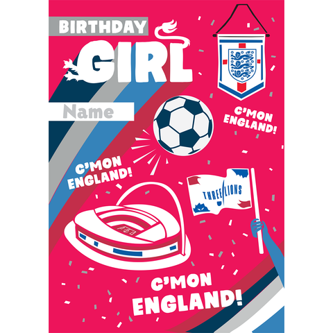 Giant Personalised Official England Girls Birthday Card