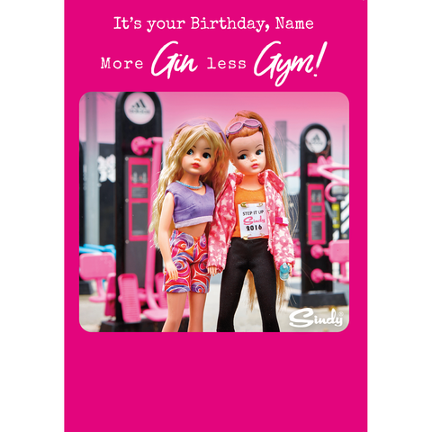 Personalised Sindy 'More Gin Less Gym' Birthday Card
