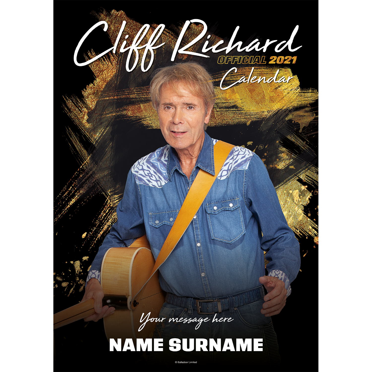 Personalised Sir Cliff Richard 2021 A3 Wall Calendar