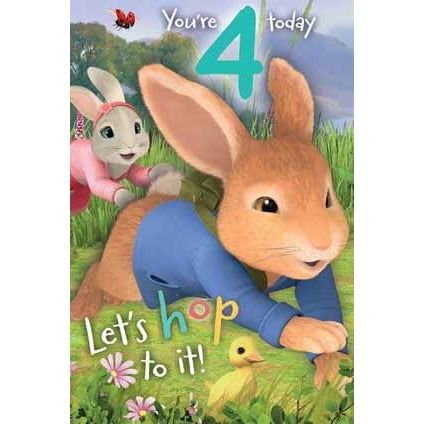 Peter Rabbit age 4 Birthday Card
