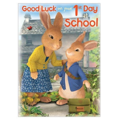 Peter Rabbit Good Luck on Your 1st Day School Card