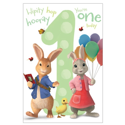 Peter Rabbit Age 1 Birthday Card