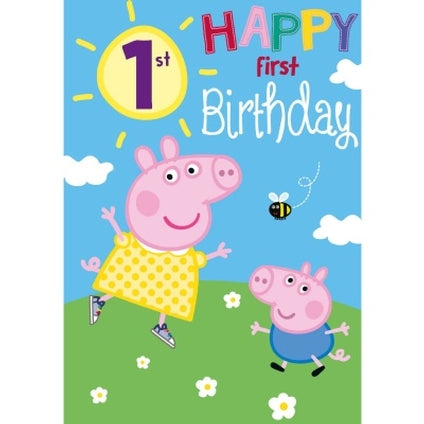 Peppa Pig Official 1st Birthday Card