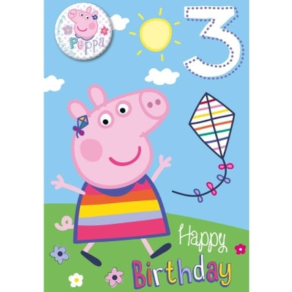 Peppa Pig age 3 Birthday Card & Badge