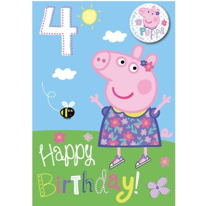 Peppa Pig Official 4-Year-Old Birthday Card & Badge