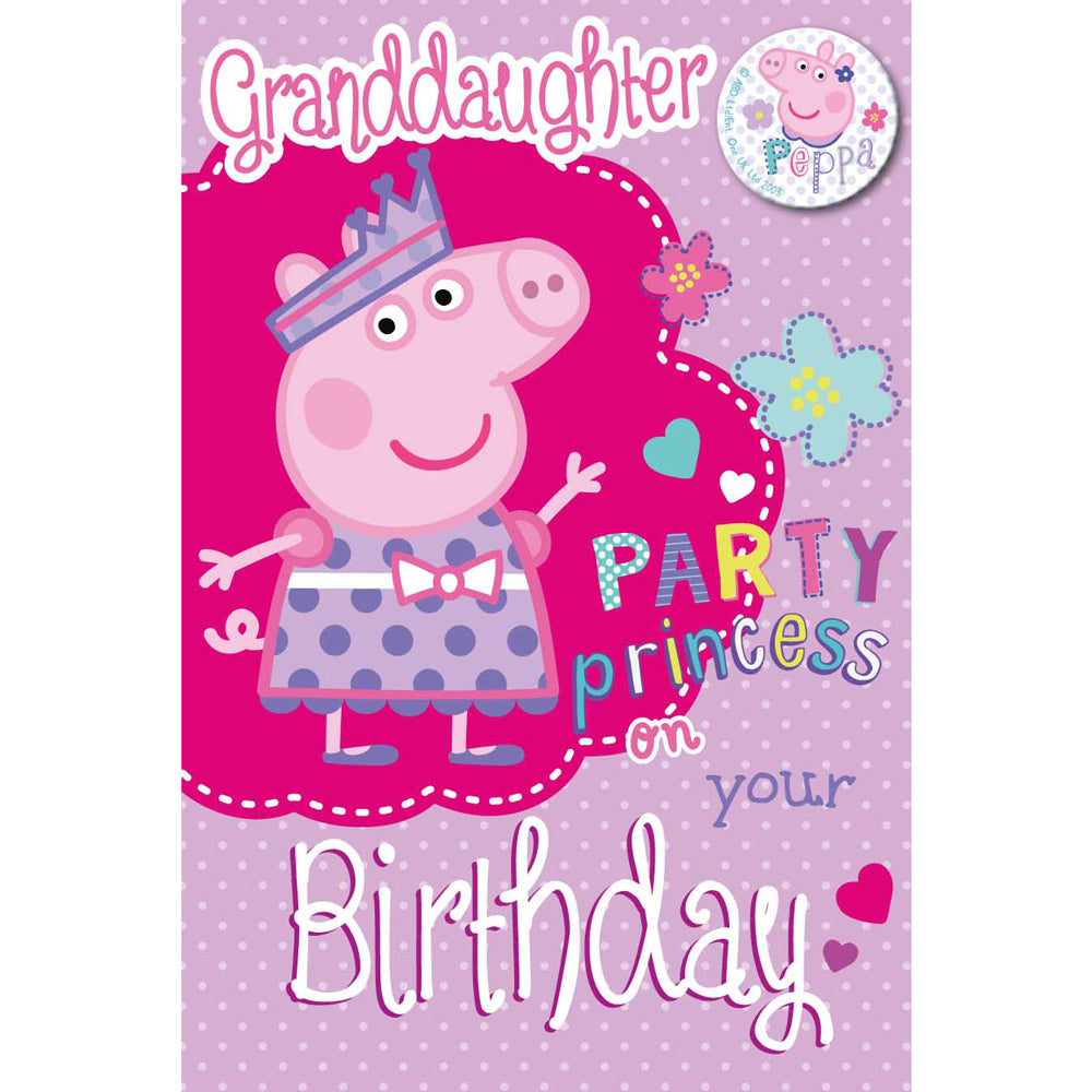 Peppa Pig Granddaughter Birthday Card & Badge