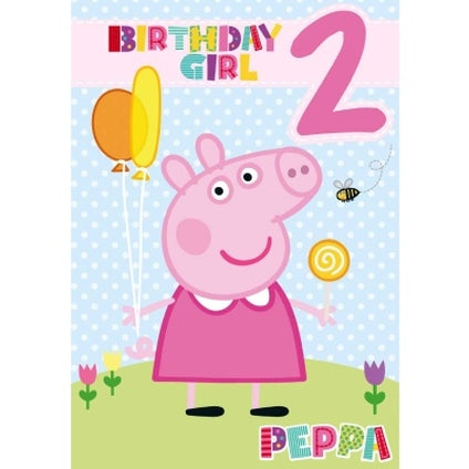 Peppa Pig Official 2-Year-Old Girl Birthday Card