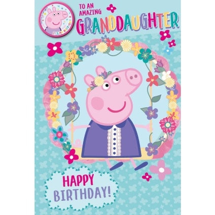 Peppa Pig Official Granddaughter Birthday Card & Badge