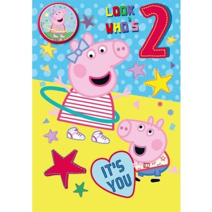 Peppa Pig Official 2-Year-Old Birthday Card & Badge