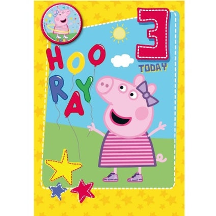 Peppa Pig Official 3-Year-Old Hooray Birthday Card & Badge