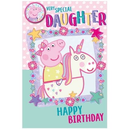 Peppa Pig Official Daughter Birthday Card & Badge