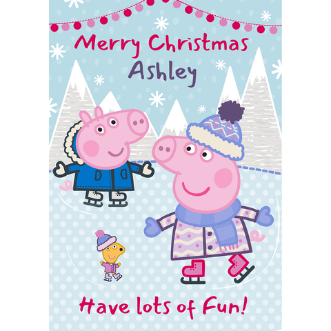 Personalised Peppa Pig Christmas A5 Greeting Card