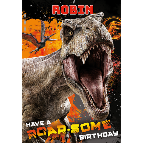 Personalised Jurassic World Roar-Some Birthday Card