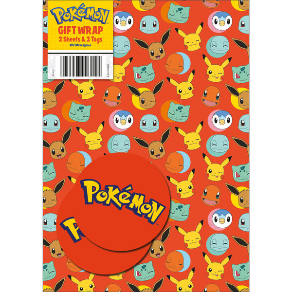 Pokemon Gift Wrap 2 Sheets & Tags
