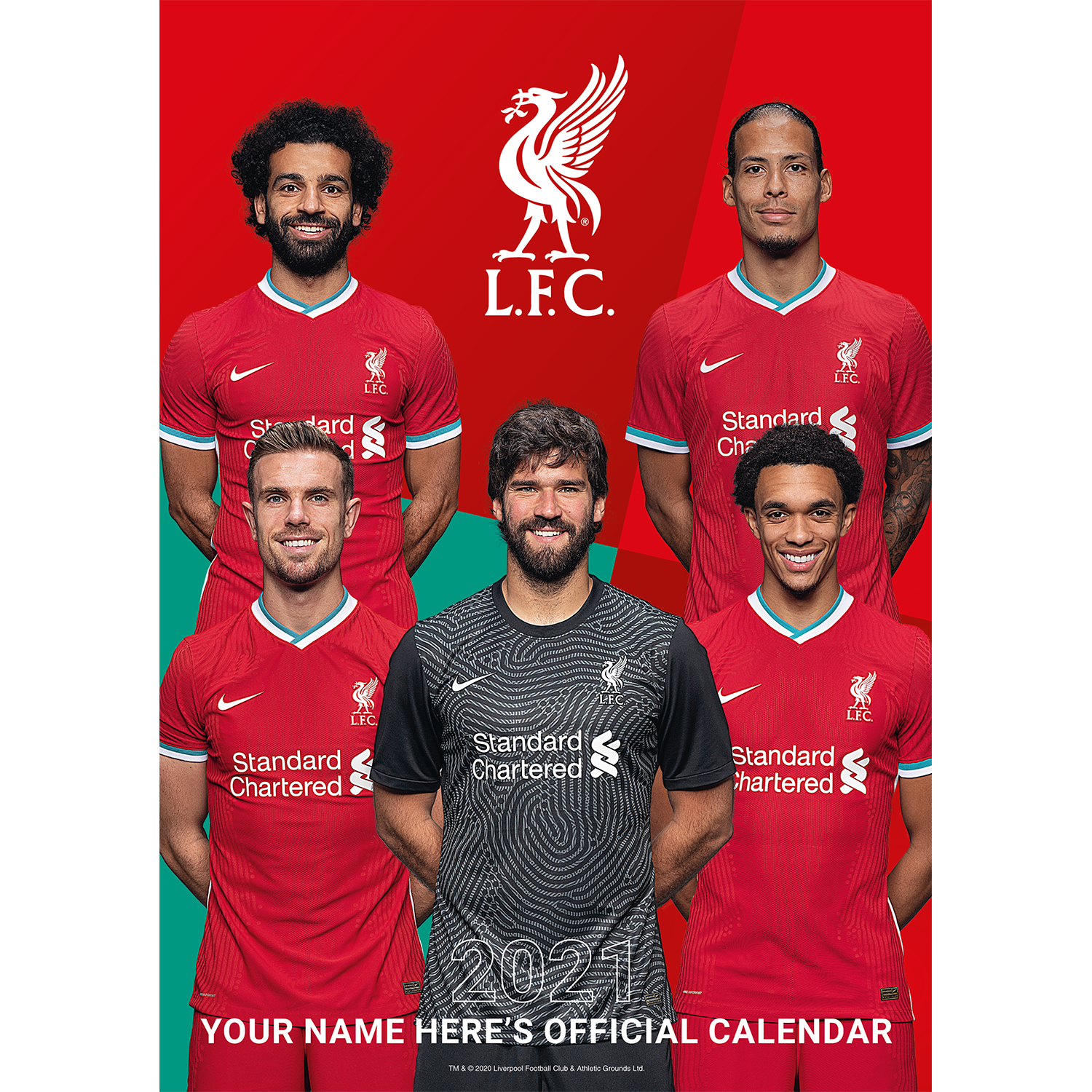 Personalised Liverpool Football Club 2021 A3 Wall Calendar