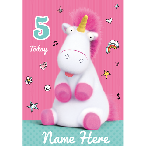 Minions Personalised Any Age and Name Unicorn Birthday Card