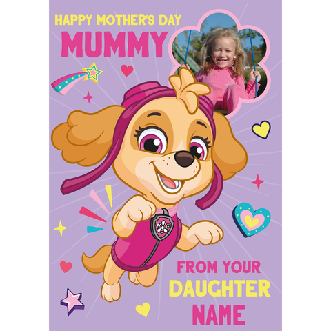 Giant Personalised Paw Patrol 'Daughter' Mother's Day Photo Card