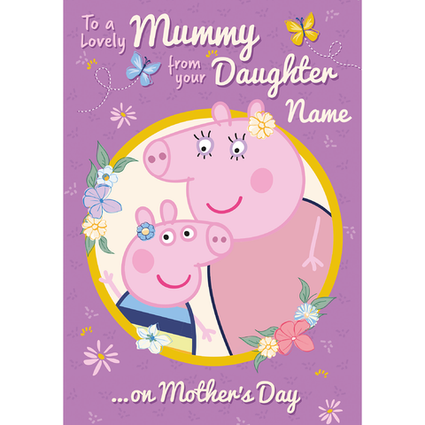 Giant Personalised Peppa Pig 'From your Daughter' Mother's Day Card