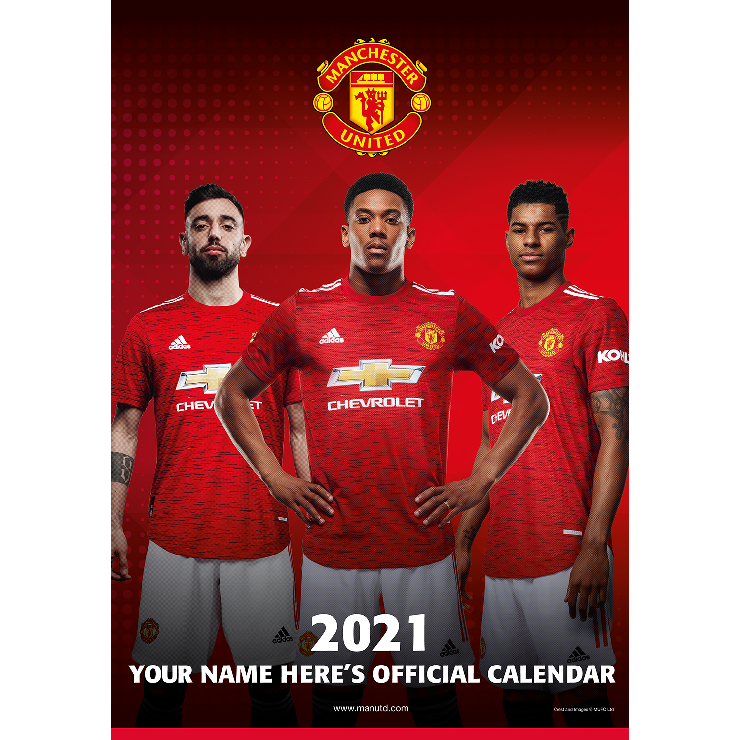 Personalised Manchester United 2021 A3 Wall Calendar
