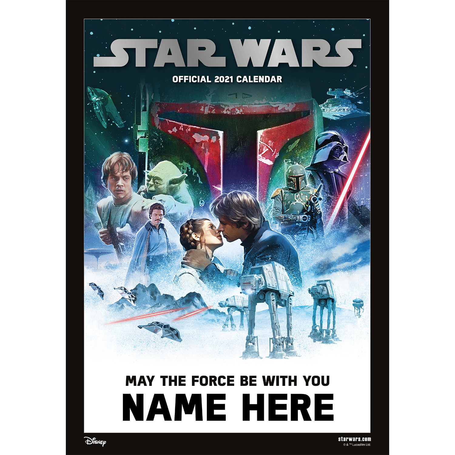 Personalised Star Wars 2021 A3 Wall Calendar