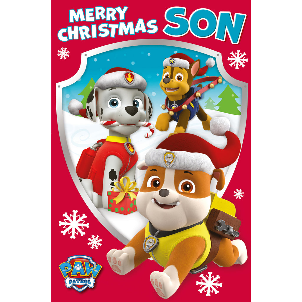 Paw Patrol Son Christmas Card Front
