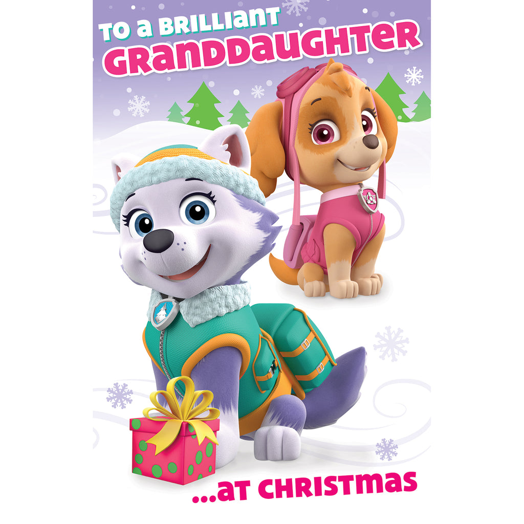 Paw Patrol Granddaughter Christmas Card Front
