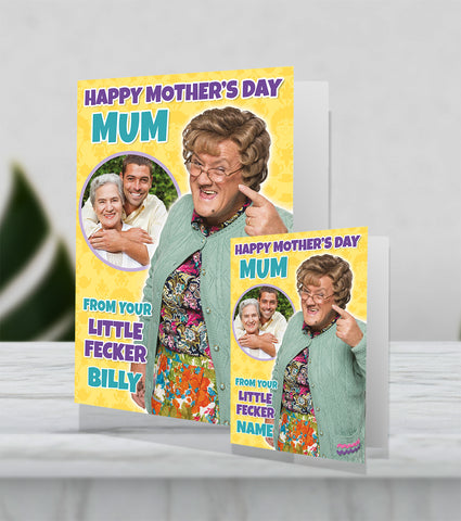 Giant Personalised Mrs Browns Boys 'Little Fecker' Mother's Day Card