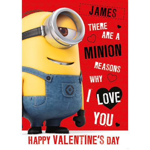 Personalised Minion 'Minion Reasons' Valentines A5 Greeting Card