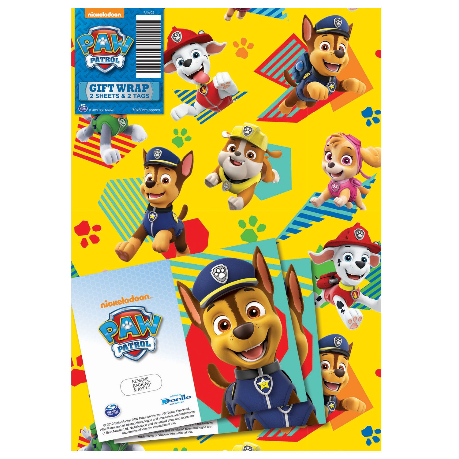 Paw Patrol Gift Wrap 2 Sheets and Tags