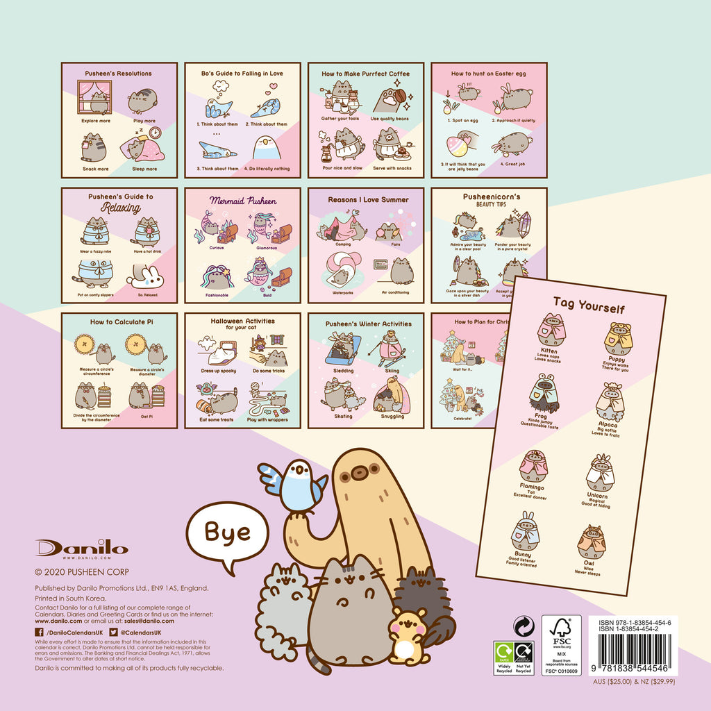 Pusheen Official 2021 Square Wall Calendar Back
