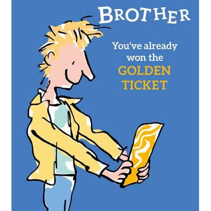 Roald Dahl Brother Charlie Golden Ticket Card