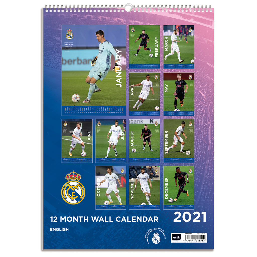 Real Madrid 2021 A3 Wall Calendar Back