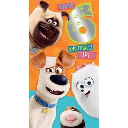 Secret Life of Pets 2 6th Birthday Card